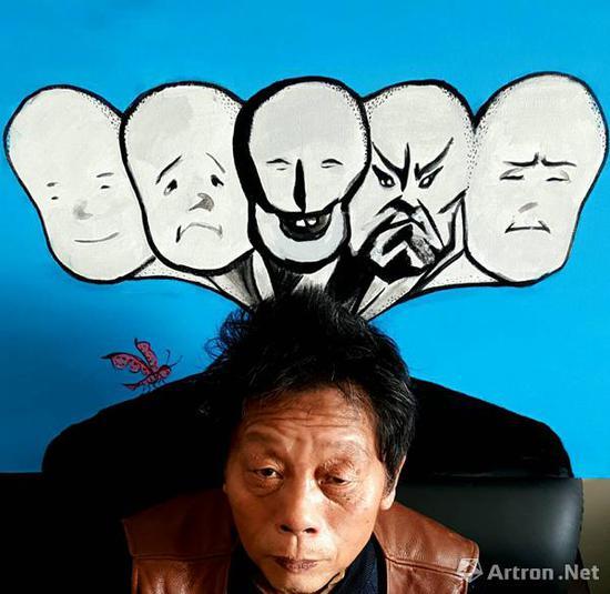 张天志,《我的作品》 下方头像为著名原生艺术家周惠明
