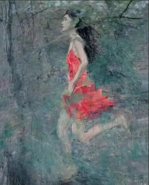 《夜奔》,布面油画,150×120cm,2007年作 北京保利2014年春拍368万元成交