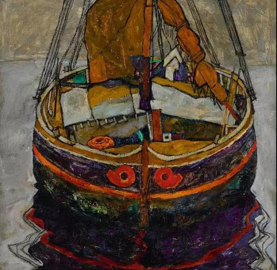 埃贡·席勒,《的里雅斯特的渔船》,油彩、炭笔、亚麻布,1912年作