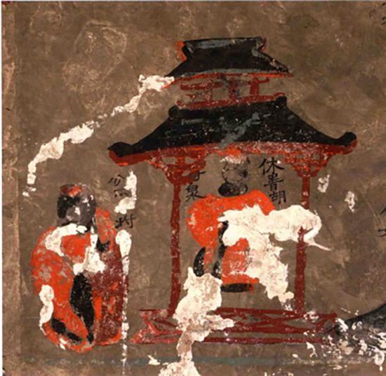 """图9 和林格尔壁画墓""""金日磾拜母像""""壁画"""