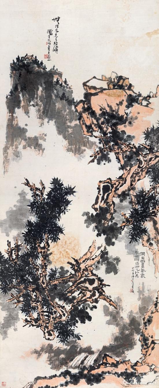 潘天寿 《无限风光》 癸卯(1963年)作 设色纸本 立轴  358.5×150 cm