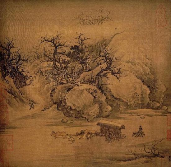 《溪山行旅图》 朱锐 26.2 x 27.3 cm 上海博物馆藏