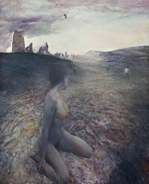 《海滩》布面油画1992年 117X96cm 于2012年北京诚轩以690万成交