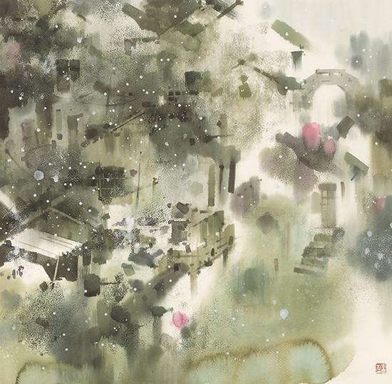 李庆,《延陵雪霁》,水彩,79×77cm