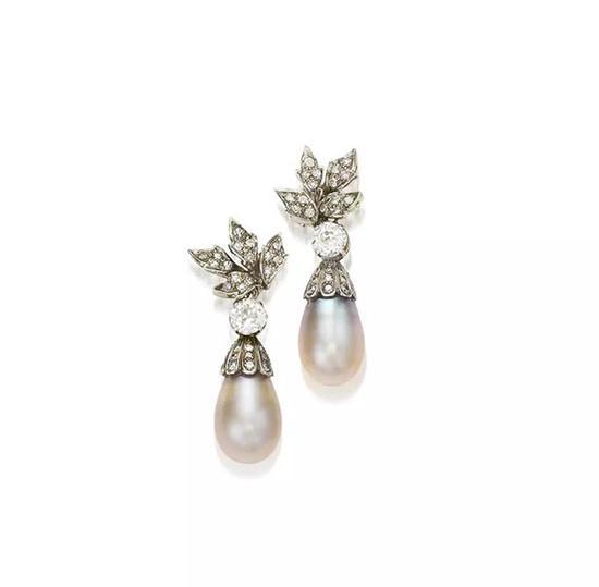 天然珍珠配钻石耳环, G。 Petochi
