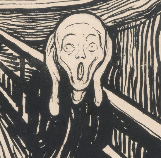 爱德华・蒙克, 《呐喊》(局部),石版印刷,创作于1895年,私人收藏,挪威。