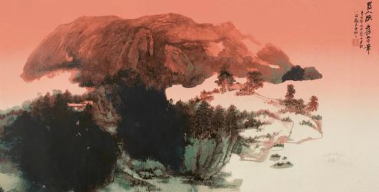 张大千,旭日东升,丝网版画,68cm×134cm