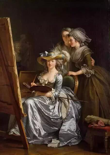 《勒布伦与两名学生的自画像》 1785年 美国纽约大都会美术馆藏