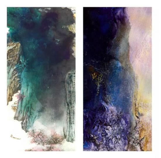 左:张大千《桃源图》彩墨纸本,209x92.2cm,1982年作(版权所有); 右:赵无极《25.06.86桃花源》作品局部