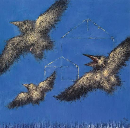 石磊 《飞系列-01》 布面油画 200cm×200cm 2008