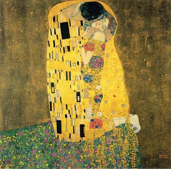 ・ 古斯塔夫・克里姆特《吻》1908年 油画 @奥地利丽城博物馆