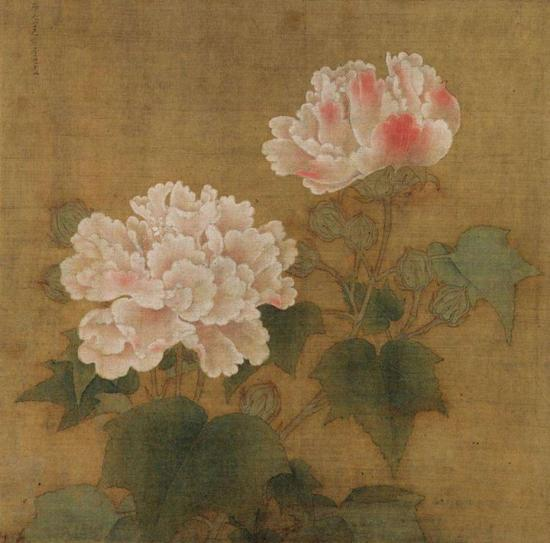 《红白芙蓉图》之红芙蓉 李迪 东京国立博物馆藏
