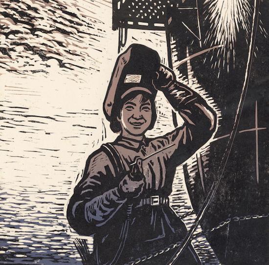 《女电焊工》,吕蒙,版画