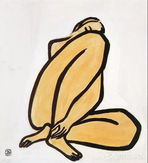常玉 《盘踞裸女》油画纤维板 1950 年代
