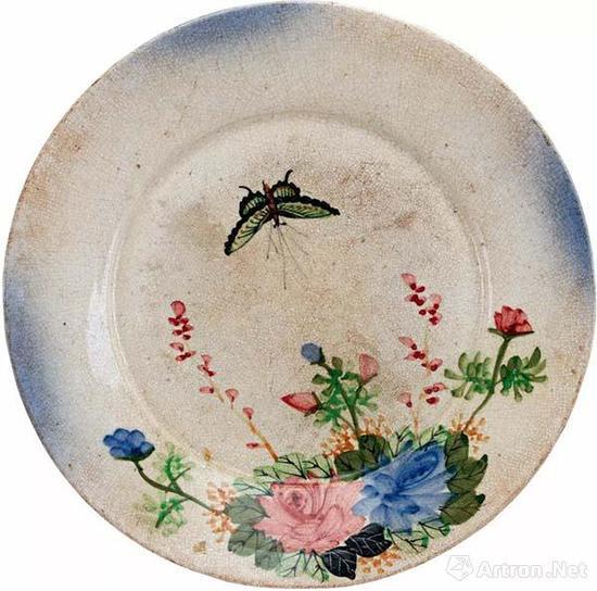 近代 陶玉峰款枫溪窑五彩花蝶纹盘  高4.5厘米 口径23.5厘米