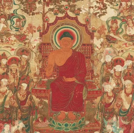▲国宝《刺绣释迦如来说法图》(局部),飞鸟时代,奈良国立博物馆藏