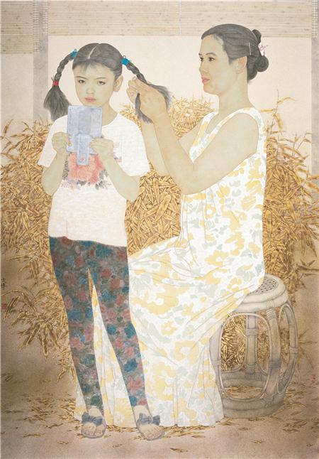 《晨妆》190×160cm 纸本设色 1995年