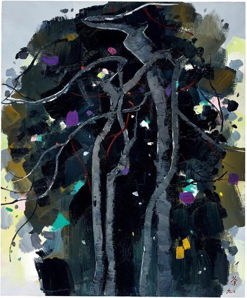 吴冠中《黑松》 1992 年作 油彩画布 73.1 x 60.1 cm。 成交价:HK$ 10,620,000