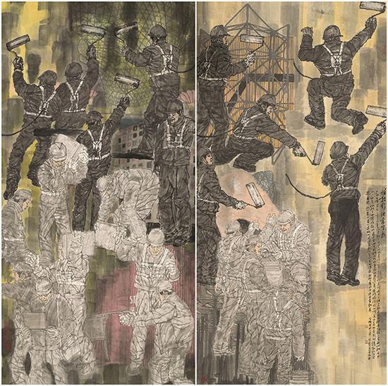 赵宗概,《谁持彩练当空舞》,中国画,250×246cm
