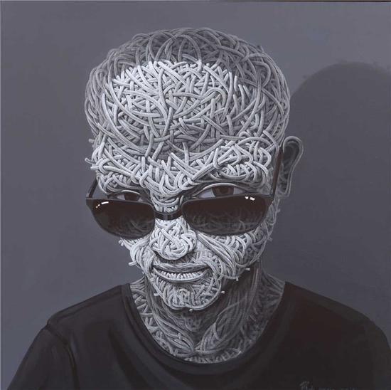 罗杰油画作品《囚_愤青头像》120x120cm arcylic on canvas 2014