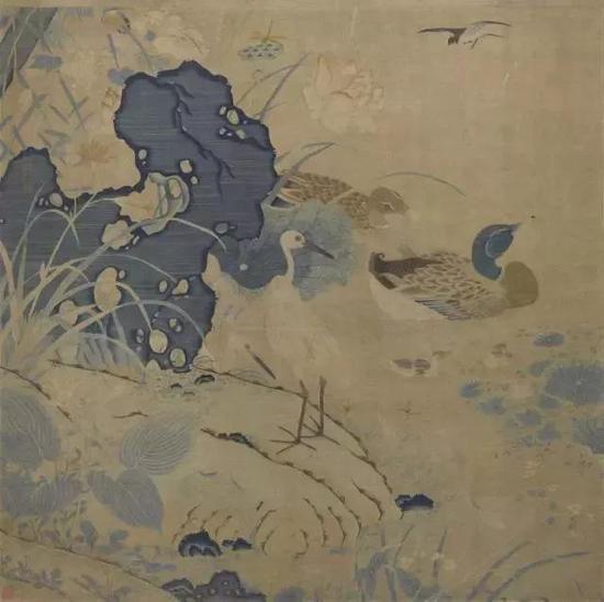 ▲南宋朱克柔 《缂丝莲塘乳鸭图》 上海博物馆藏