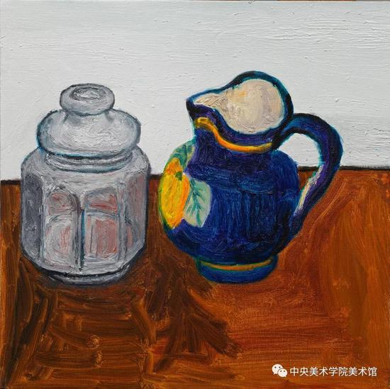 贾涤非,《蓝色的罐子》木板布底油彩 2015