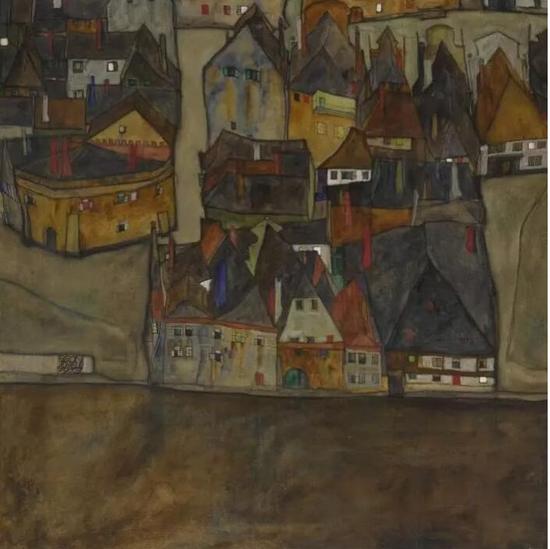 埃贡·席勒(Egon Schiele)《暮色之城(小城之二)》,1913年作已售24,572,500美元