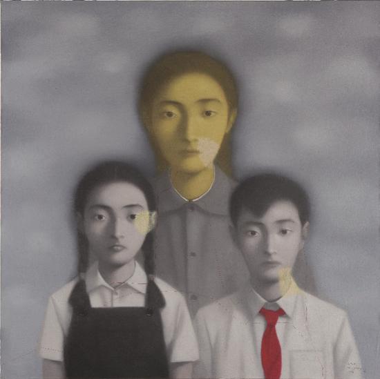 张晓刚,《全家福第13号》(1998年作)