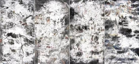 迷雾,纸本水墨,180×97×4cm,2019