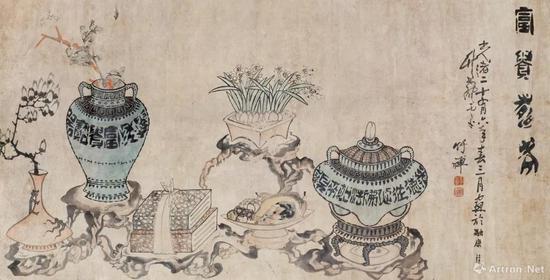 清代 竹禅《富贵寿老图》 横幅 设色纸本 175×89厘米