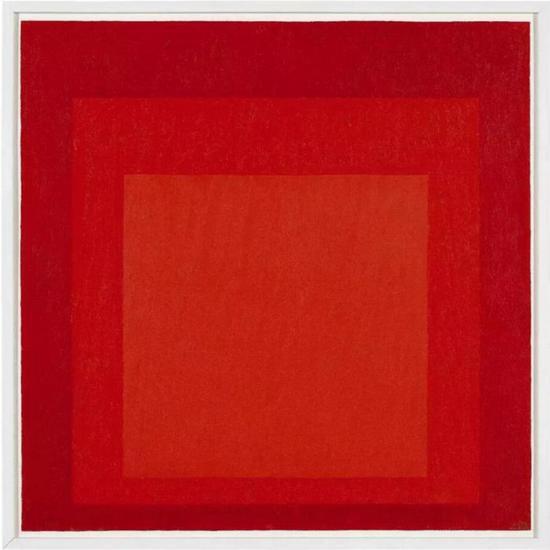 约瑟夫·埃布尔斯(Josef Albers)《向方形致敬习作》 款识:画家签姓名缩写并纪年72; 盖章、书题目并题款数次(背面)   油彩纤维板   60.9 x 60.9 公分