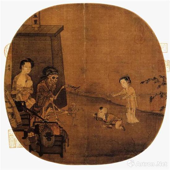 传李嵩《骷髅幻戏图》团扇 故宫博物院