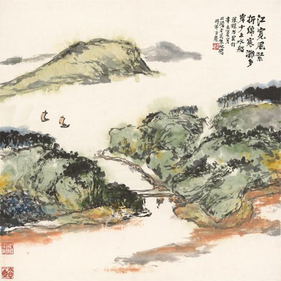 《江宽风紧 折绵寒》,朱屺瞻,中国画