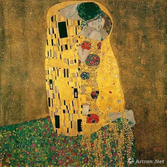 古斯塔夫·克里姆特《吻》1907-1908年,维也纳,奥地利美景宫美术馆.