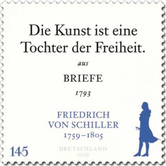 """图片:德国2009年邮票,席勒:""""艺术是自由的女儿。""""出自1793年席勒书简。"""