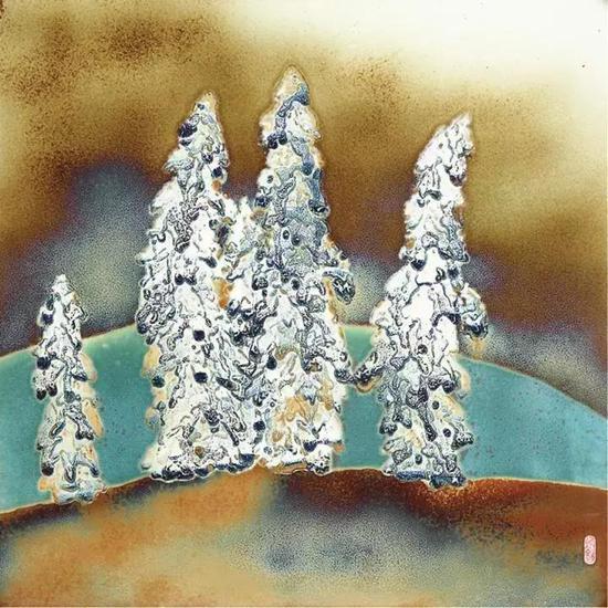 高温颜色釉瓷画《傲雪凌霜》