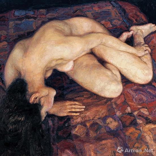 陈逸飞《横卧的裸体》布面油画 200x200cm 1996年