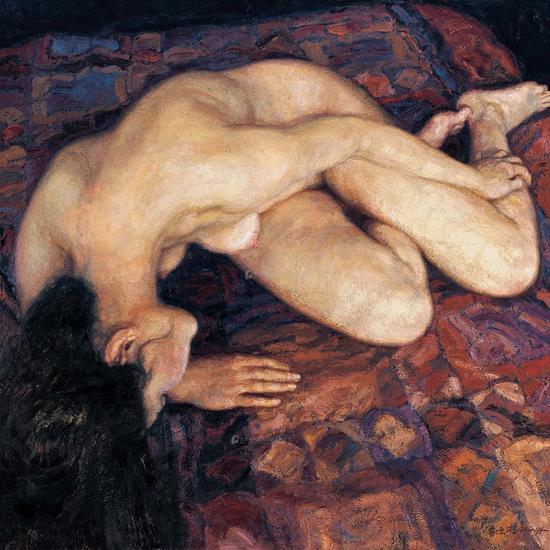 陈逸飞《横卧的裸体》布面油画