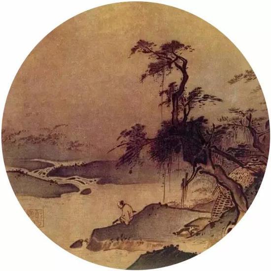 《临流赋琴图》宋 夏圭 纸本设色 北京故宫博物院藏