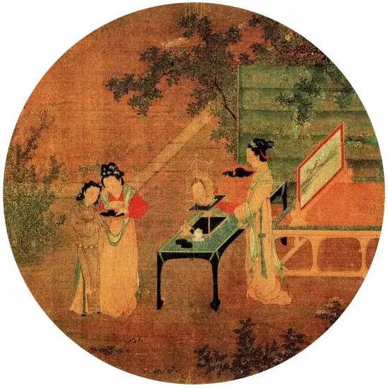 《绣栊晓镜图》宋 王诜 团扇