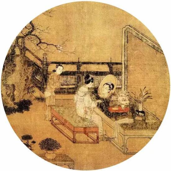 《妆靓仕女图》宋 苏汉臣 团扇 绢本设色 美国波士顿艺术博物馆藏