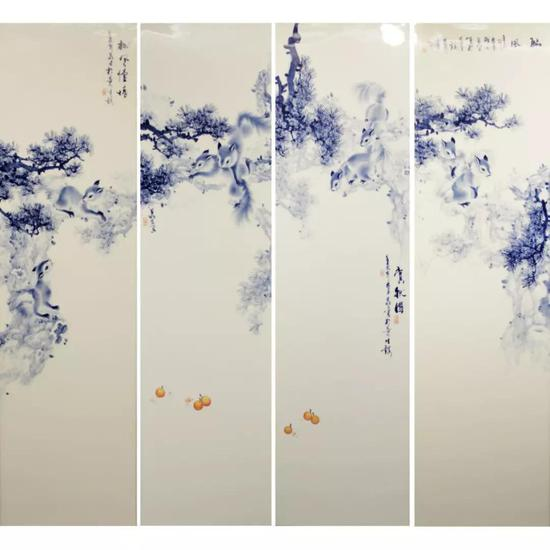 青花松鼠瓷板一套 111cm×31cm×4