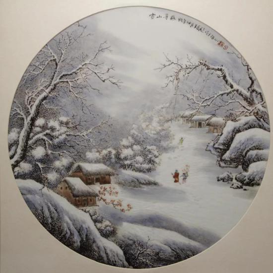 """王昌彪 粉彩""""雪山寻梅""""瓷板  49cm×49cm"""