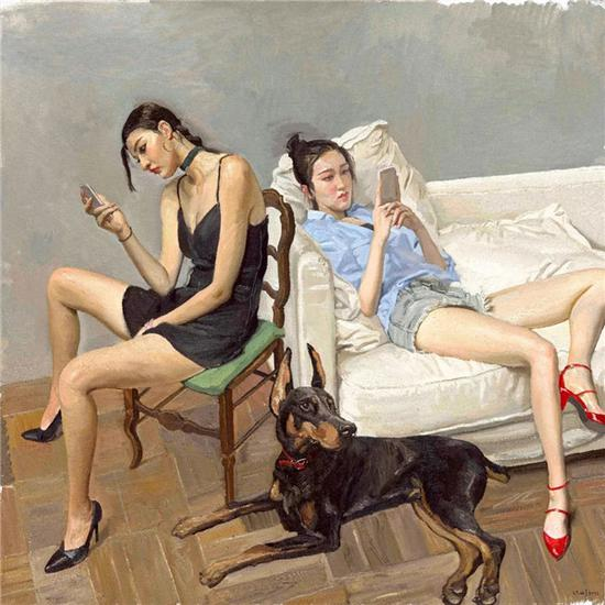 手机 Smartphones   布面油画 Oil on canvas 180 x 160 cm 2016