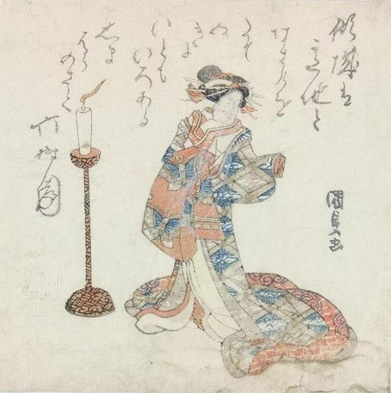 摺物画,歌川国贞(Utagawa Kunisada, 1786?1865),彩色木刻版画,1821年