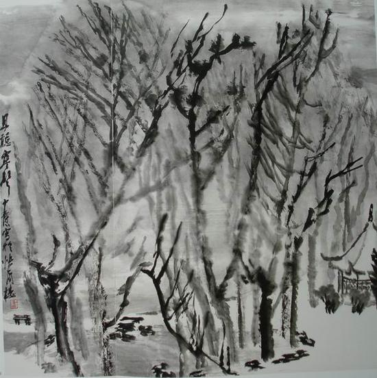 童中焘,《且听寒声》70x70cm,1990年(湿笔)
