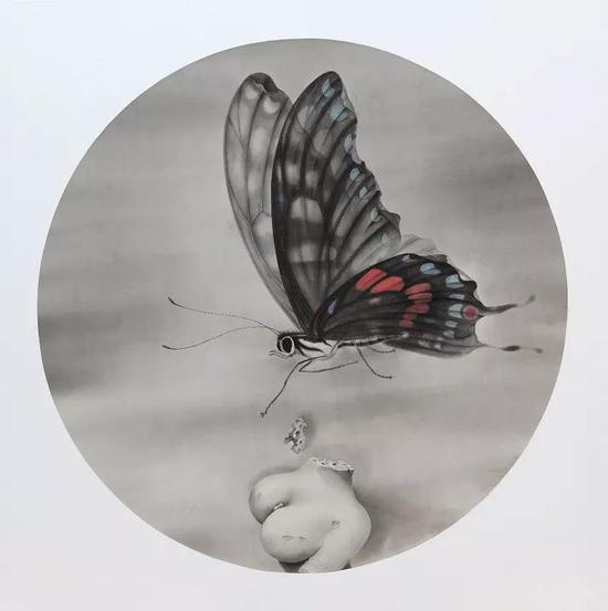 《蝶》 绢本水墨 2018年 直径:140cm