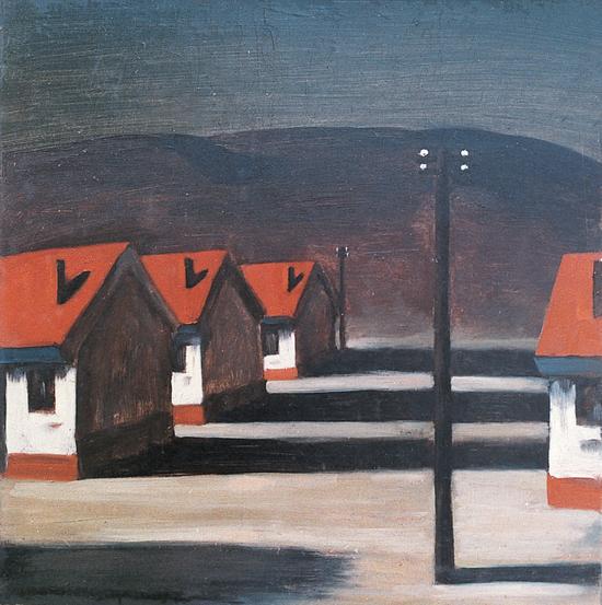 《夕阳下的公社》,布面丙烯,48 x 48cm,1985
