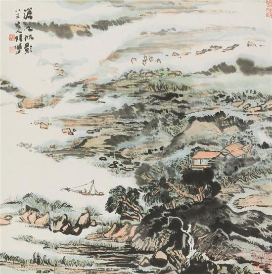 陆俨少 沧江帆影  69cm×69cm  纸本设色 1991