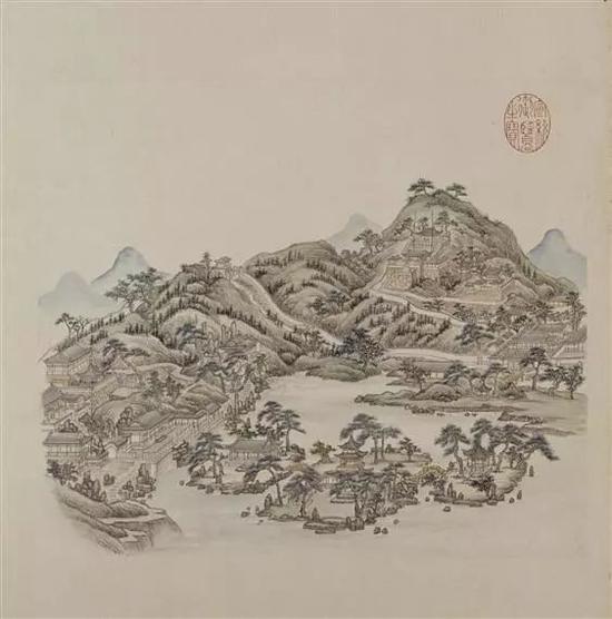 """张若澄《燕山八景图》之""""玉泉趵突""""北京故宫博物院藏品"""